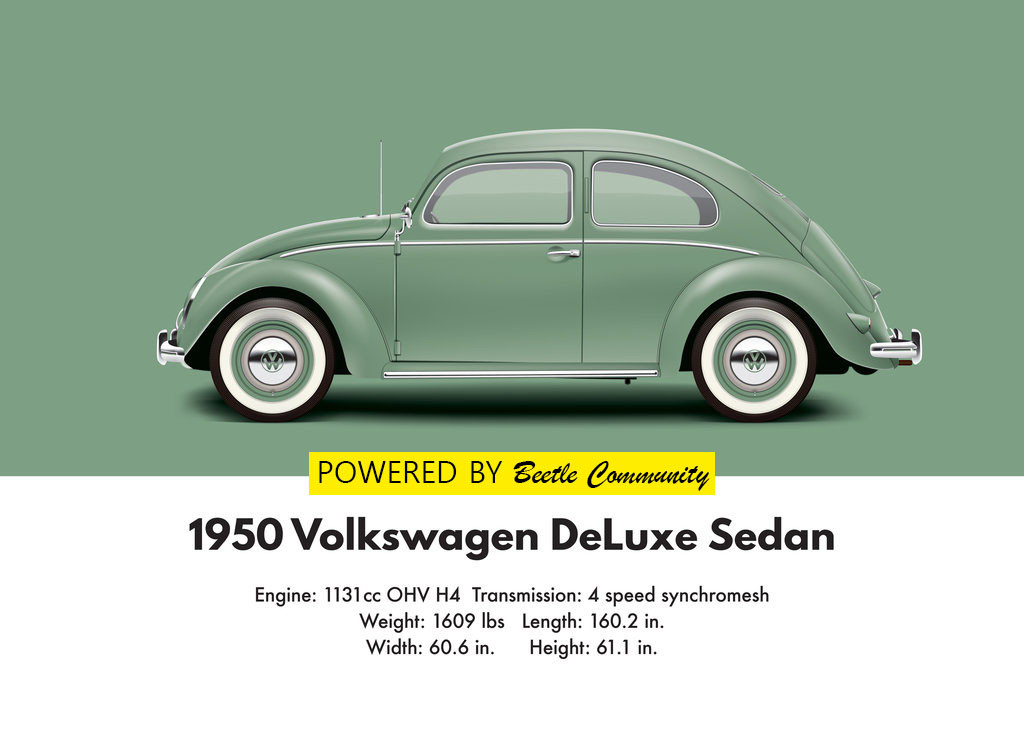 vw beetle 1950 split window model and specifications